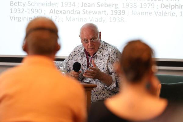 Michel Marie na přednášce o francouzské nové vlně na LFŠ v Uherském Hradišti 30. července 2019.